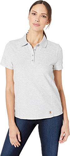 (Carhartt Women's Contractor's Short Sleeve Work Polo, Heather Gray Large)