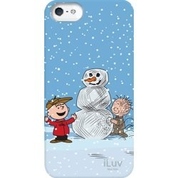 iLuv iCA7H387 Peanuts Graphic Case for iPhone 5 (Charlie Brown with Snowman and Pal) - 1 Pack - Retail Packaging - Blue Snow Pals Snowman