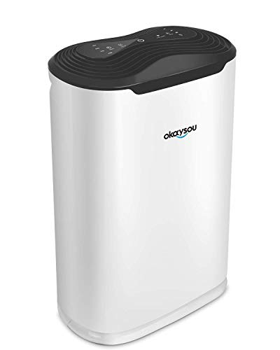 "Okaysou AirMax8L 19.4"" 5-in-1 Air Purifier for Home Large Room, True HEPA Filter Quiet Air Cleaner Plus DUO-Filter, Full Room Odor Remover for Smoke, Dust, Pollen, VOCs and More, Auto Off Timer, White"
