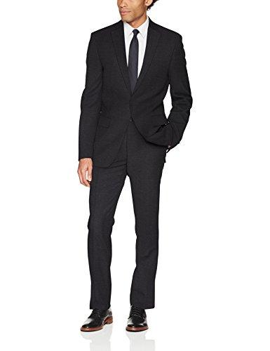 DKNY Men's All Wool Slim Fit Suit, Grey Solid 44 Long