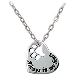 "925 Sterling Silver ""Always in my Heart"" Paw Print Heart Pet Lover Pendant Necklace, 18 inches"