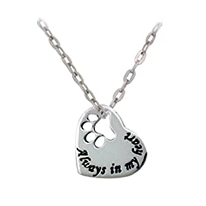 Chuvora 925 Sterling Silver Always in my Heart Paw Print Heart Pet Lover Pendant Necklace, 18 inches