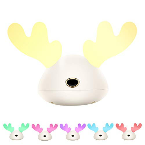 Nursery Night Light,HZDone Cute Deer Night Lights for Bedroom Table Bedside Lamps with Dimming & RGB Color Changing Function,Soft Silicone Rechargeable Lamp Baby Gift
