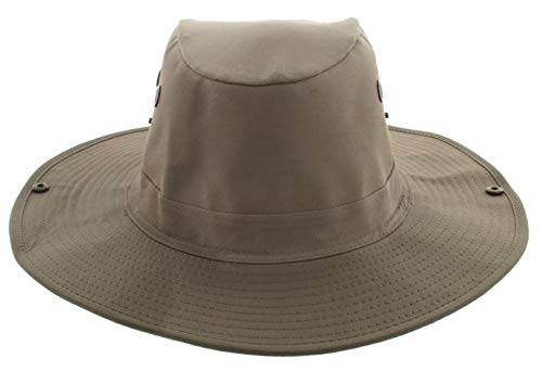JFH Wide Brim Unisex Safari Outback Summer Hat w/Neck Flap (Large, Brown) - coolthings.us