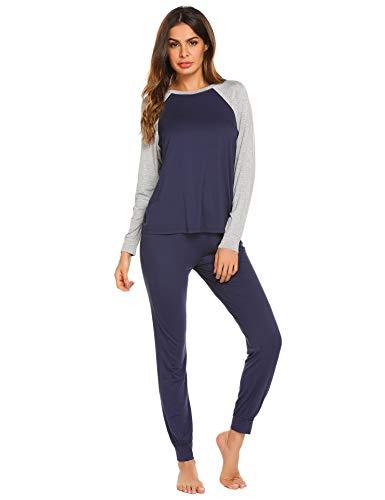 Ekouaer Loungewear Set Women's Long Sleeve Sleepwear 2 Piece Sleep Set (Navy,M)