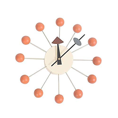(GZMEI Nelson Ball Clock Multi-Color Wooden Balls Aluminum Quartz Holder Telechron Atomic Ball Wall Candy Clock)