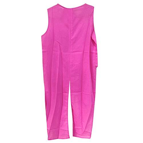 Londony ✚‿✚Women Irregular Shirt Dress Summer Short Sleeve Blouses Chiffon Shirt Cross Vest T Shirt Loose Blouse Hot Pink from Londony