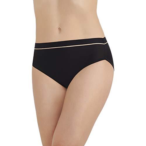 (Vanity Fair Women's Light and Luxurious Hi Cut Panty 13195, Mid Black, 2X-Large/9)