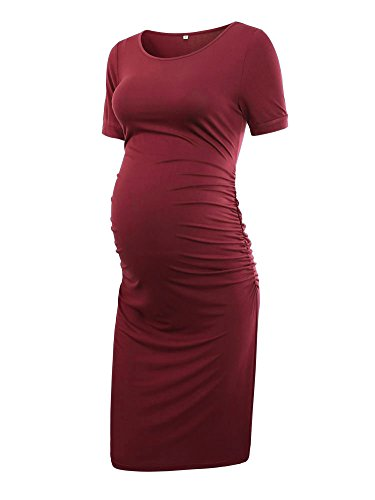 Womens Ruched Maternity Bodycon Dress Mama Causual Short, Wine Red, Size Large