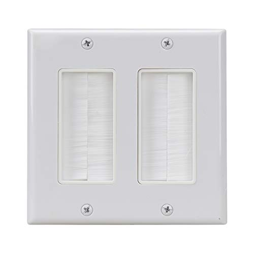 Dual Gang Brush Wall Plate,Brush Style Opening Passthrough Low Voltage Cable Plate in-Wall Installation for Speaker Wires, Coaxial Cables, HDMI Cables, or Network/Phone Cables