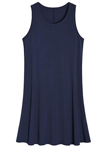 (Latuza Women's Sleeveless Nightgown Scoop Neck Sleep Tank Dress XL Navy)