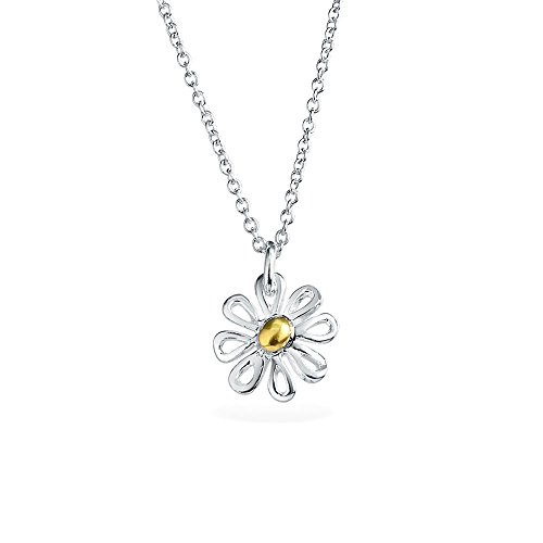 (Tiny Simple Two Tone Flower Daisy Pendant Necklace For Women For Teen 14K Gold Plated 925 Sterling Silver With Chain)