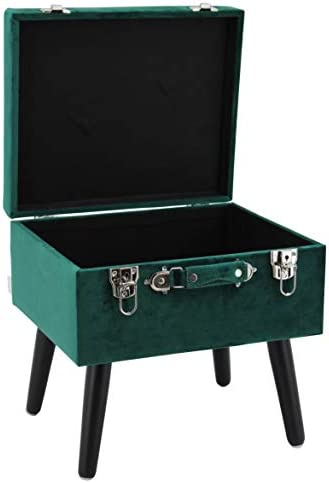 Happy Home Company 12541 Velvet Ottoman Stool with Storage Compartment Dark Green