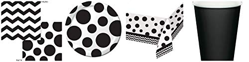 148 Piece Black Chevron and Polka Dot Themed Party Bundle Tableware Party Supply -