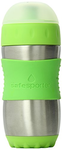 The Safe Sporter Water Bottle, Lime, 12 Ounce - Kid Basix Green
