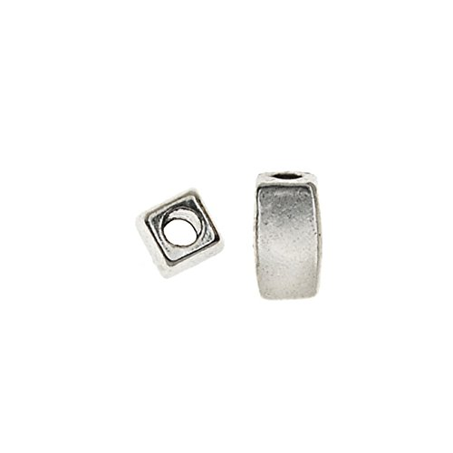 Antiqued Silver Finish Beads - Lead-Free Pewter, Smooth Rectangle Beads 3x5mm, 50 Pieces, Antiqued Silver
