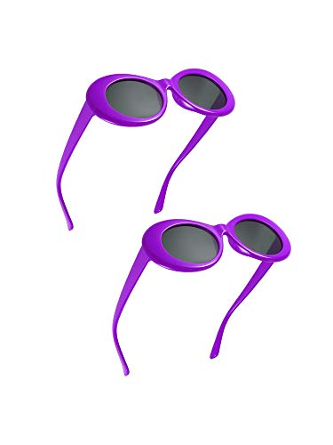 Frame Goggle Accessory - Blulu 2 Pairs Thick Frame Kurt Cobain Glasses Clout Oval Round Mod Goggles Retro Sunglasses with 2 Lens Cloth 2 Glasses Bag (Purple)