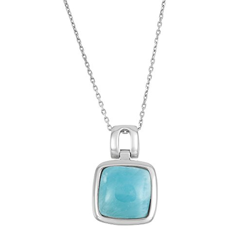 Sterling Silver Natural Larimar Square Pendant with 18