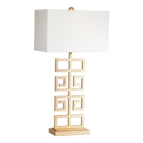 - Ethan Allen Greek Key Table Lamp, Antique Gold