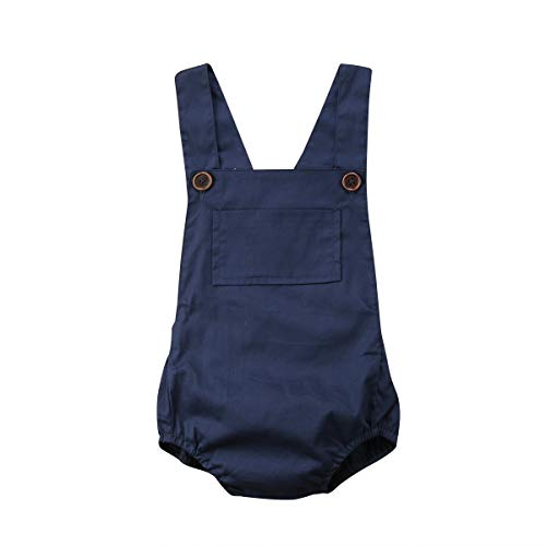 woshilaocai Baby Boy Girl Romper,Summer Baby One-Piece Backless Sling Jumpsuit Sunsuit Clothes Dark Blue