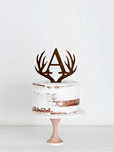 (Antlers Wedding Wood Cake Topper With Initial Letter A Wedding Wood Cake Topper Single Letter Wooden Wood Cake Topper Initial A Wood Cake Topper Natural Wood)
