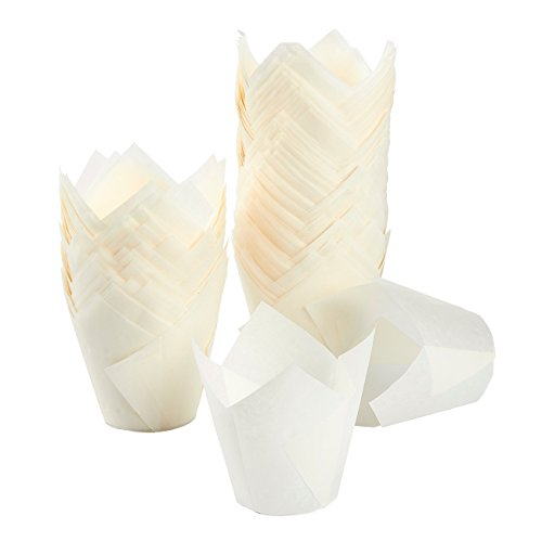 Tulip Cupcake Liners, 150 Pack, Medium - Baking Cups - Muffin Wrappers - Perfect for Bakeries, Catering, Restaurants, White