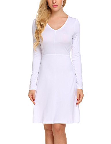 SE MIU Women Official V Neck Business Fit and Flare Cotton Formal Dress, White, - Official Miu Miu
