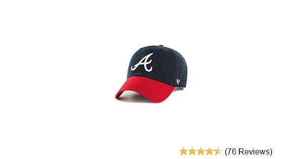 47 Atlanta Braves Hat MLB Authentic Brand Clean Up Adjustable Strapback Black Baseball Cap Adult One Size Men /& Women 100/% Cotton