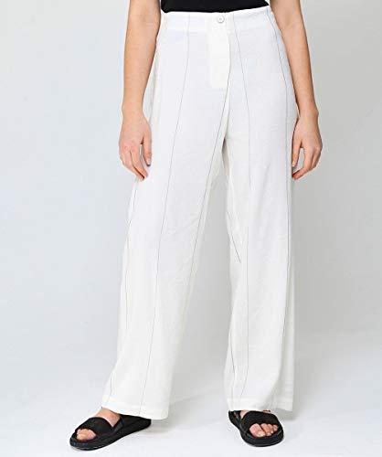 De Concept Rayas Blanco Lino A Tela Crea Pantalones Mezcla Mujeres F7tqpqa