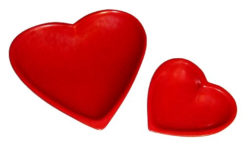Kisii stone Two Heart Dishes - Valentines Heart Design - Hand crafted from Stone 15 & 10 cm