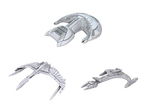 WizKids Star Trek Deep Cuts Unpainted Miniatures Ships Bundle: Klingon VOR'cha Class + Ferengi D'Kora Class + Romulan Valdore Class