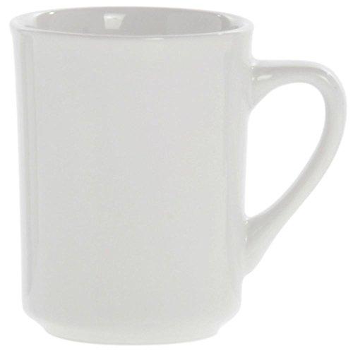 HUBERT Coffee Mug with Narrow Rim 8.5 Ounce Bright White Stoneware 36 Per Case