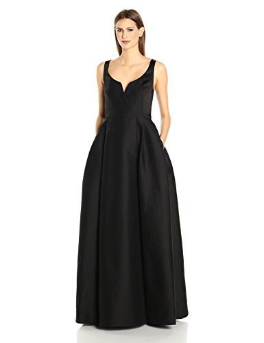 HALSTON-HERITAGE-Womens-Sleeveless-Scoop-Notch-Neck-Silk-Faille-Gown