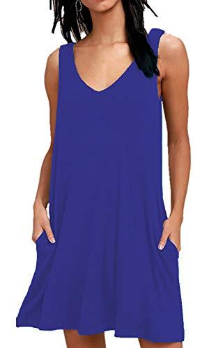 - AUSELILY Women Summer Casual T Shirt Dresses Beach Cover up Plain Pleated Tank Dress (2XL, Royal Blue)