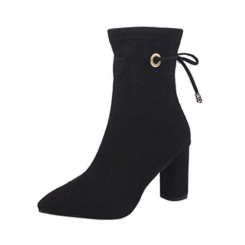 Women's Rubber Ankle Boots,Kintaz Lady Rope Pointed head Warm Linning High Heel Ankle Booties (Black, US:6) (Infant Heel Warmers)