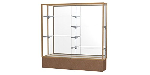 (Monarch Series Floor Display Case Frame Color: Champagne Gold, Case Backing: Mirror, Base Color: Beige Stone)