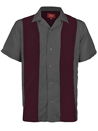 Maximos Mens Retro Charlie Sheen Two Tone Guayabera Bowling Casual Dress Shirt