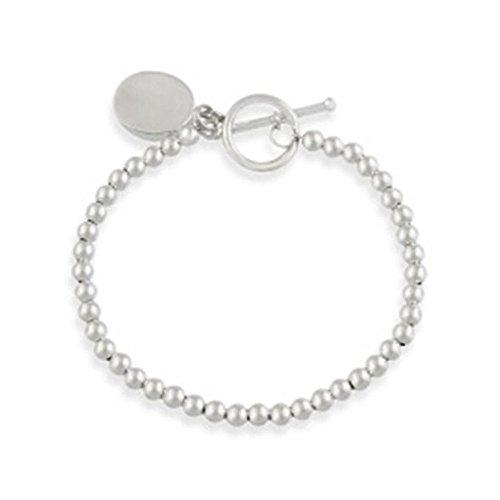 (Glitzs Jewels Sterling Silver Oval Tag Charm Bracelet, 7'')