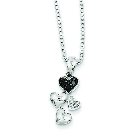 Sterling argent noir et blanc diamant brut JewelryWeb-Pendentif Coeur