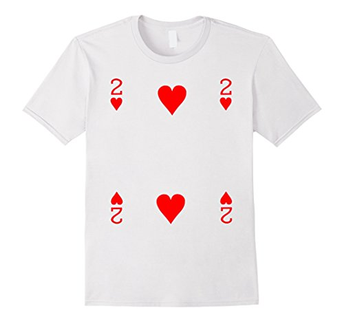 Men's Two of Hearts Playing Card Poker Card Costume Tee Shirt Medium White (Full House Costumes)