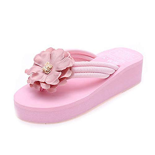 F-OXMY Women Flower Wedge Platform Flip Flops Summer Comfort Anti-Slip Thick Bottom Beach Thong Sandals Pink