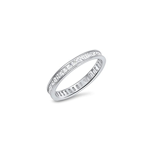 Signature Baguette - Inspire Signature Sterling Silver Eternity Band Ring with Baguette Clear Cz, Band Width of 3MM