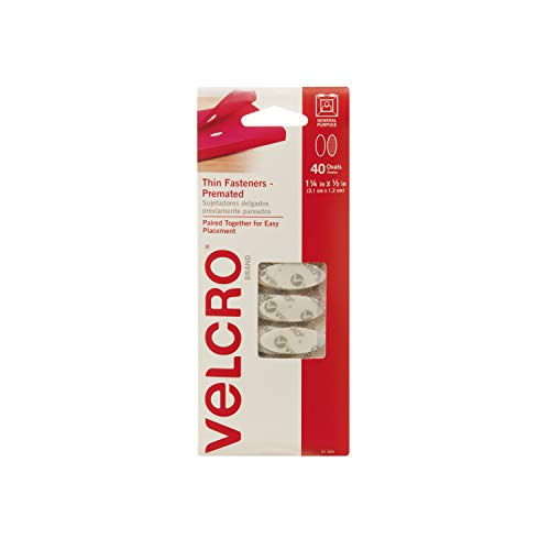VELCRO Brand - Thin Fasteners - Premated - Ovals, 40 Sets - White - Adhesive Velcro Fastener