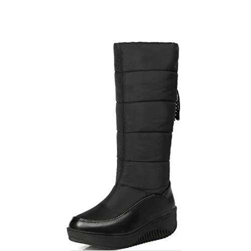 DETAWIN Women Mid Calf Boots Winter Warm Slip-On PU Round Toe Wedges Footwear Platform Snow Boots