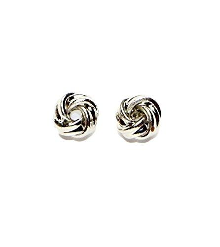 Surgical Stainless Steel Studs Earrings Girls- Women Love knot 7 MM Hypoallergenic Earrings (Rhodium Plated) -