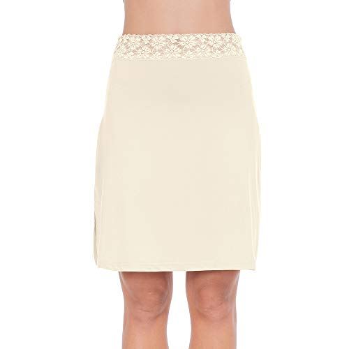 Half Slips for Women Underskirt Short Mini Skirt with Floral Lace Waistband Beige Small
