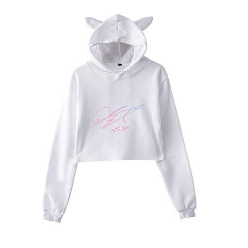 gatto Orecchie con cappuccio Casual di Breve Hoodie Cropped BTS Allentato Semplice Aivosen Donna Moda sportive Sweatshirts Felpe S8UUvqYw