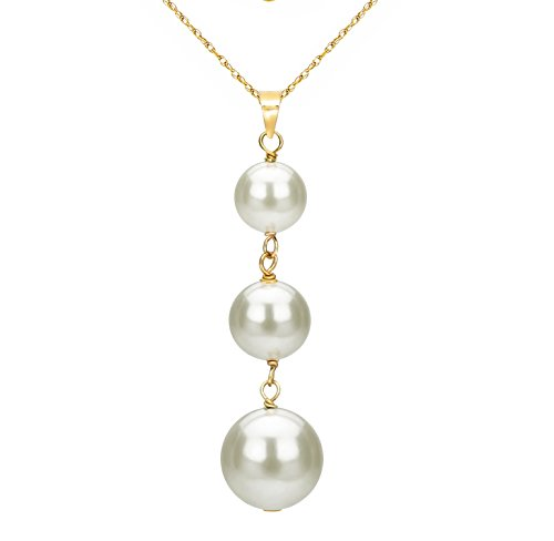 14K Yellow Gold White Graduated- size Freshwater Cultured Pearl Pendant Necklace Bridal Jewelry 18 inch