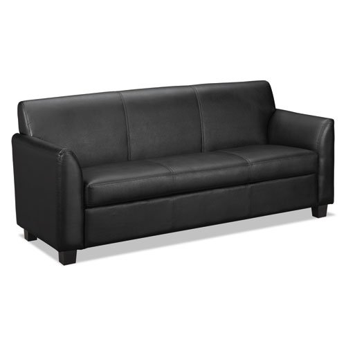 basyx VL873SB11 Leather Reception Three-Cushion Sofa, 73″ by 28-3/4″ by 32″, Black