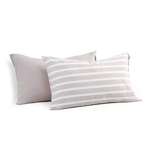 Miu Hin 100% Washed Cotton Pillow Cases, Modern Style Envelope Closure Pillowcase Set of 2, Natural Wrinkled Look Pillowcases (Khaki Mashup, King Size)